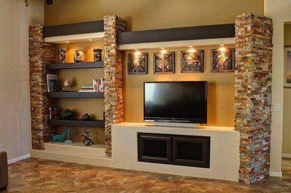 Custom entertainment centers custom drywall for Drywall designs living room