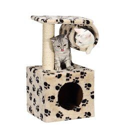 Ollieroo® Cat Tree for Kitten Cat Condo Furniture Scratching Post with Tunnel Pet House Cat Cube, Small