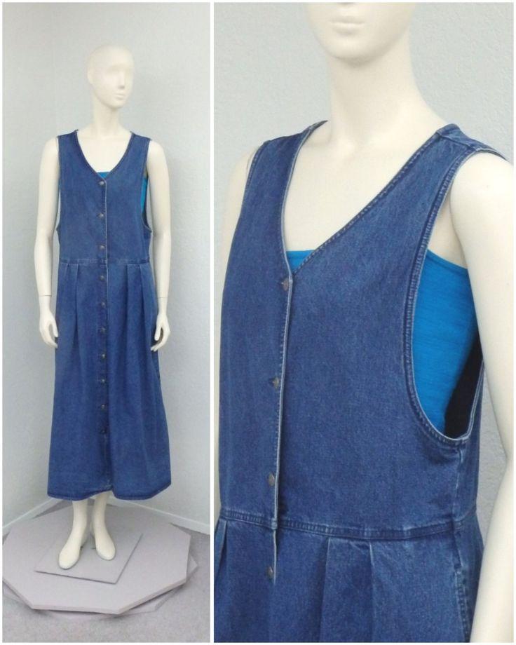Vintage 90s Charter Club Denim Jumper Dress Pleated Midi length Jumper Tea Length Jumper Womens Jumper (29.00 USD) by SprightlyVogue