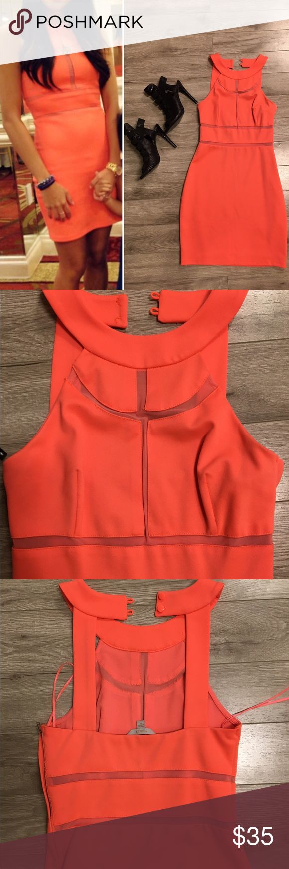 GUESS bright orange mini dress Super cute orange mini dress with mesh cut outs. Perfect for a spring wedding. Worn once to a wedding! No flaws, like new condition. Zipper is on the left side of dress. Dress is fully lined, awesome quality. Dresses