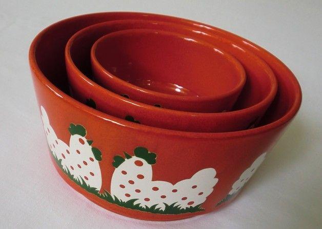 Vintage Schalen - 70er Schalen Set Rot Wächtersbach ReTRo Hühner - 21,90