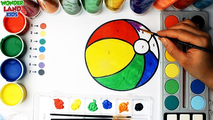 Learning Colors and numbers with watercolor for  Preschool kids / Educat...