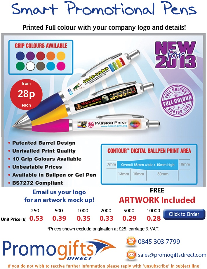 New Contour Digital Printed Pen - Contact us to order: sales@promogiftsdirect.com - www.promogiftsdirect.com