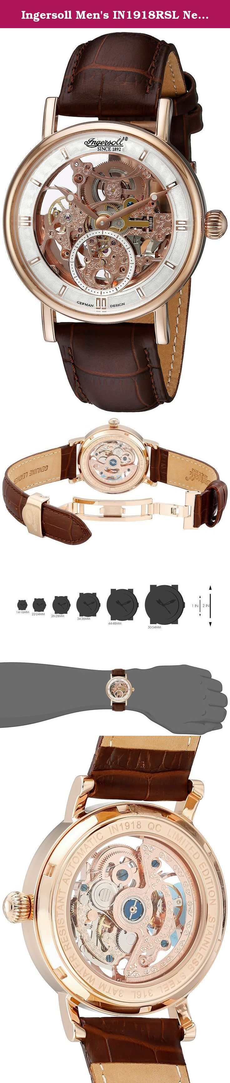 Ingersoll Men's IN1918RSL Nez Perce Analog Display Automatic Self Wind Brown Watch. Movement: Automatic, Calibre: 414, Case Material: stainless steel, Watch glass: Mineral, Case color: red gold, Case diameter: 40mm, Dial color: silver, Stones/ jewels: 20, Case back: mineral glass, Functions: skeleton, small second, material: leather, Bracelet color: brown, Impetus : 20 mm, Clasp: folding clasp Clasp color: red gold, ATM: 3. The size of the IN1918RSL Nez Percé is 40 mm. The housing of the...