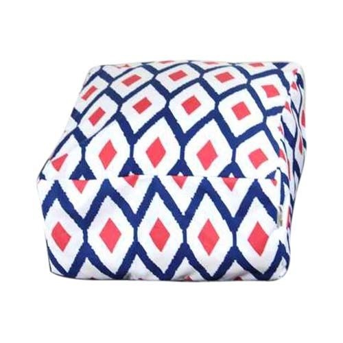 Red, white and blue geometric bean bag ottoman - hardtofind.