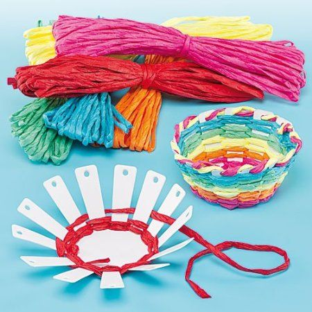 Card Basket Weaving Kits 6 Colors of Raffia, Finished Size 10cm, Kid's Craft Activities Great for Mother's Day & Easter- Pack of 4