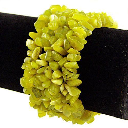 Olive Jade Wide Style Chipped Gemstone Bracelet