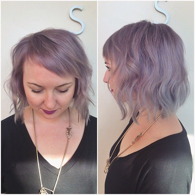 short-soft-wavy-purple-bob-hairstyle-with-side-swept-bangs-for-round-face-shapes