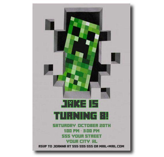Unique Birthday Invitation Card Template Ideas On Pinterest - Minecraft birthday invitation card template