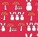 The Red Thread Bunnies and Toadstools Red