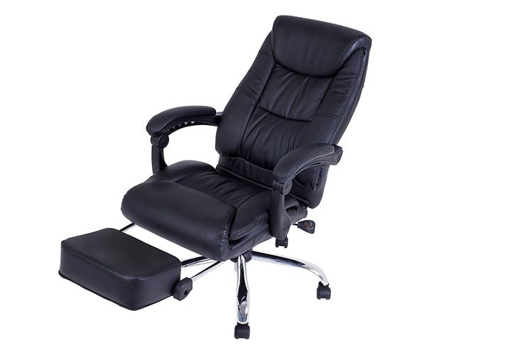 LCH Reclining Office Chair - High Back Executive Leather Chair with Adjustable Angle Recline Locking System and Footrest, Thick Padding For Comfort and Ergonomic Design For Lumbar Support