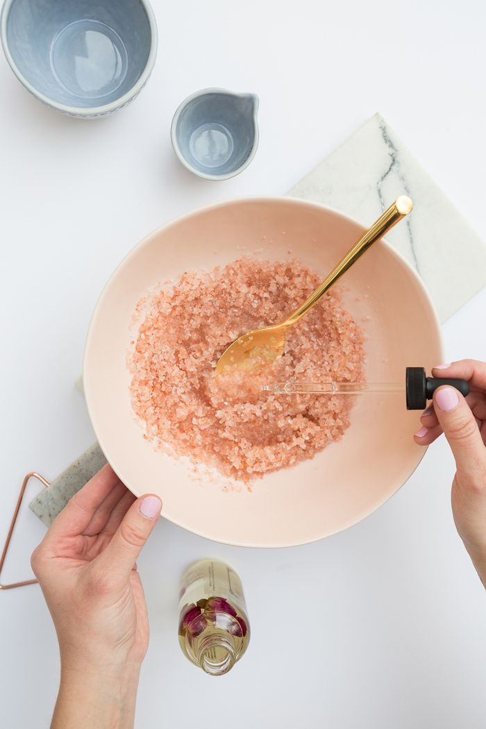 DIY Pink Sea Salt Coconut Body Scrub