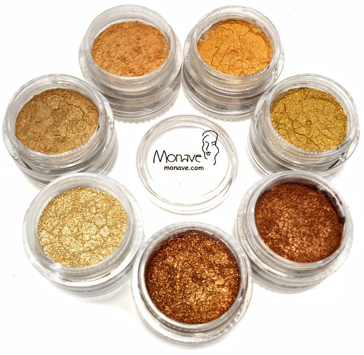 Monave Gold Versatile Powder Pack comes with all of our gold to yellow all natural eye shadows! Use these colors on the eyes, cheeks, or lips with a clear gloss for fabulous high saturations of color.  vegan, gluten free, 100% natural, mineral makeup , chemical free, talc free, bismuth free