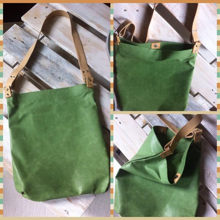 Green leather handbag _ Shopping leather tote  made by me :)