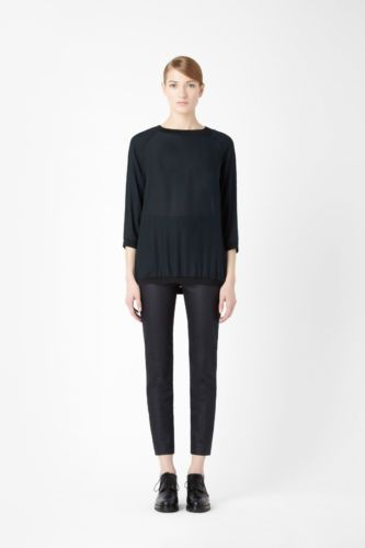 COS Trend Blogger Top Seiden Bluse Tunika Long Shirt weit transparent XS S 34 | eBay