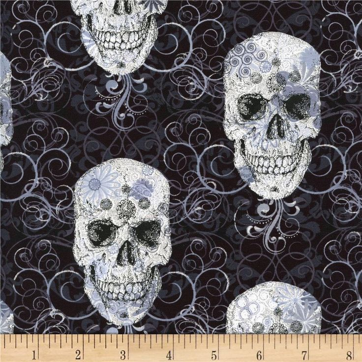 Skulls Metallic Black from @fabricdotcom  Designed for Timeless Treasures, this cotton print fabric is perfect for quilting, apparel, crafts, and home decor items.