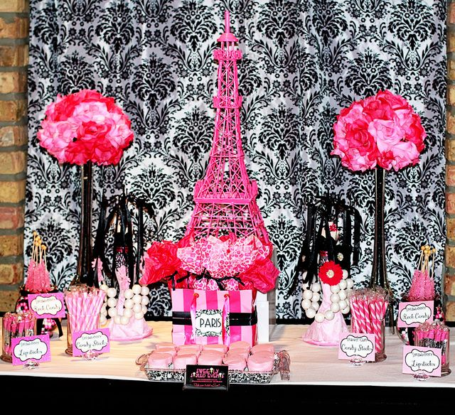 Paris Party for a Sweet 16 Birthday #pink #black #French