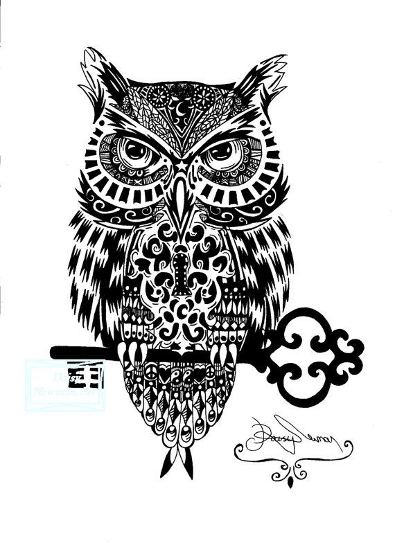 Instant download Mystical Owl digital print. Designed and hand drawn by myself with black drawing ink pens, scanned onto a computer and digitally