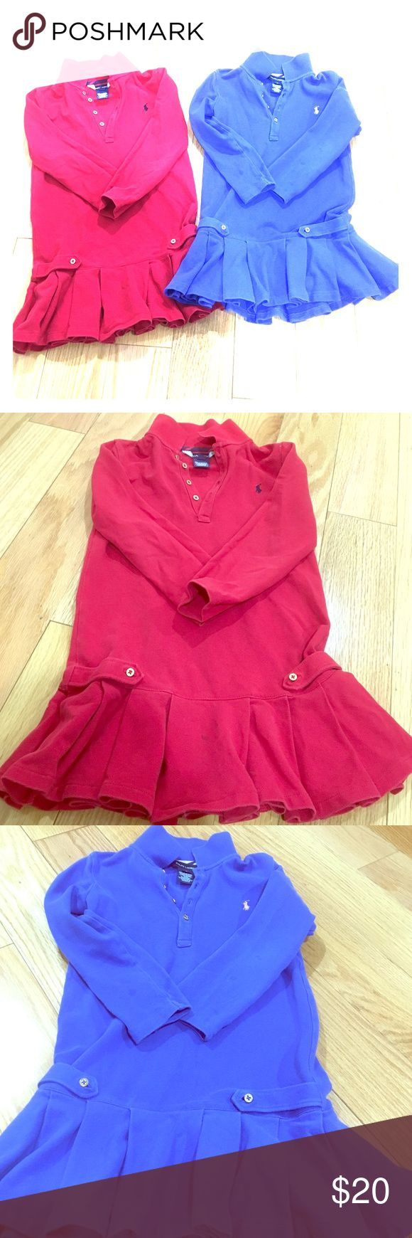 ❤️️💙 2 Ralph Lauren Little Girl's Pleated Dresses Bundle of 2 little girls collared Polo Ralph Lauren long-sleeved pleated dresses. Will sell separately! Red is size 6X with a black pony, gold monogrammed buttons, has stain on front pleat. Blue is size 6 with a white pony, gold monogrammed buttons, has stains on both arms. I tried to capture the stains in the pictures, but they are somewhat faint. Adorable dresses! Smoke/pet free. Polo by Ralph Lauren Dresses Casual