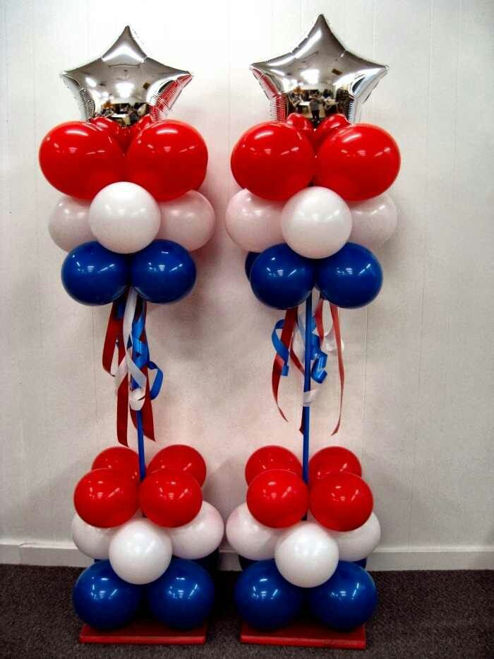 Love These Patriotic Balloon Columns 4th Of July Pinterest Balloons Decorations And