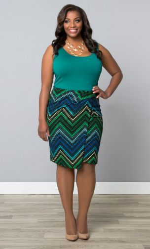 Uptown Faux Wrap Skirt - Green Multi Print at Curvalicious Clothes #plussize #plussizefashion Trendy Clothing #Canadian store