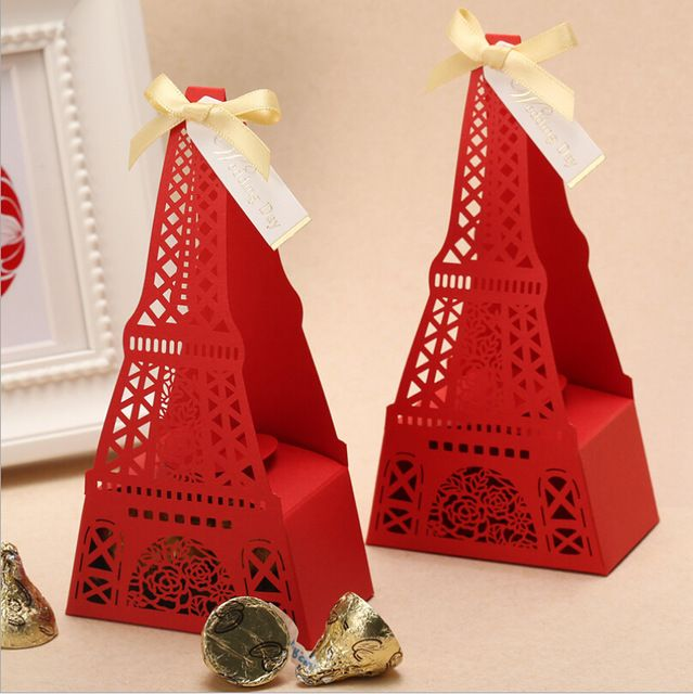 12pcs Eiffel Tower Wedding Favor Boxes + ribbon  Wedding Candy Box Casamento Wedding Favors And Gifts Event & Party Supplies