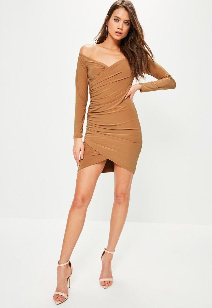 Camel Slinky Bardot Bodycon Dress | Missguided
