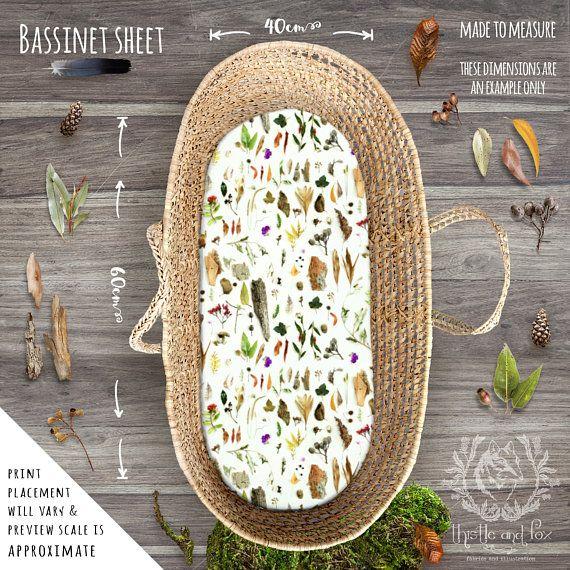 Australian Nursery Cot Sheets Bushland Botanicals | Fitted Cot Sheet | Fitted Bassinet Sheet | Linen Cotton, Organic Cotton