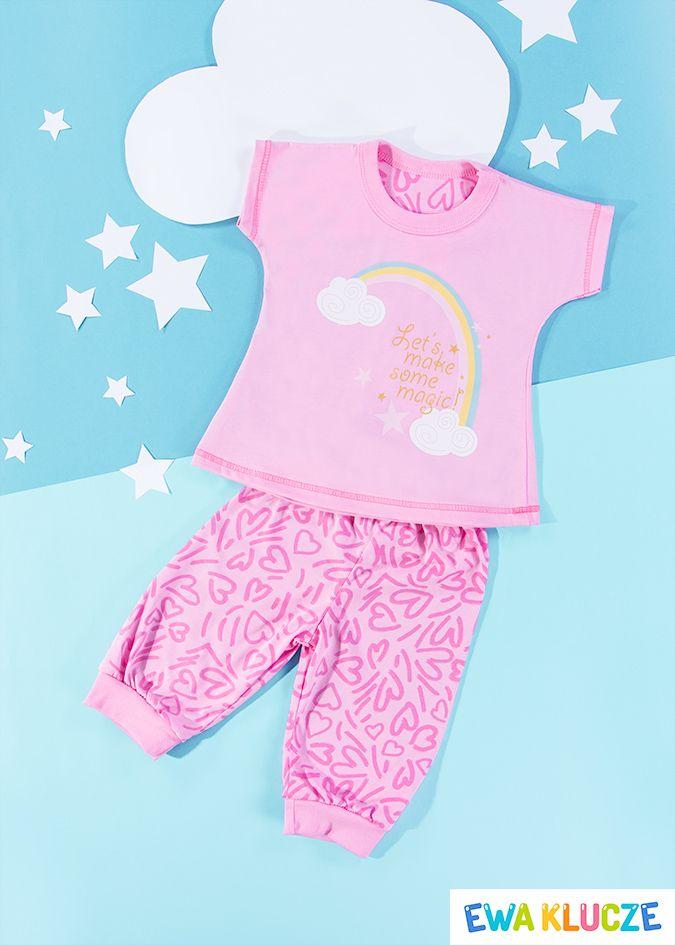 EWA KLUCZE, różowa piżamka z krótkim rękawem COMICS, ubranka dla dzieci, EWA KLUCZE, COMICS pijamas, baby clothes, Детская одежда