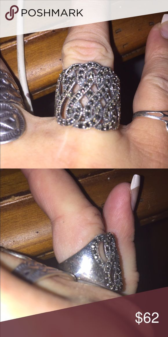 Selling this Solid Sterling Silver and Marcasite Ring Sz 7.5 on Poshmark! My username is: happyshack. #shopmycloset #poshmark #fashion #shopping #style #forsale #Jewelry