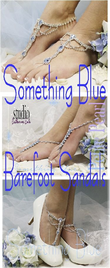 Something Blue barefoot sandals for beach weddings.