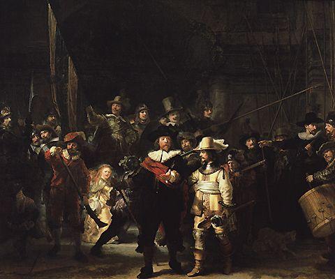 La Ronde de nuit, 1642, Rembrandt, la compagnie du capitaine Banning Cock Baroque œuvre critiquée. Sombre. Sur le vif. Jeune fille mystère. Poulet mort...