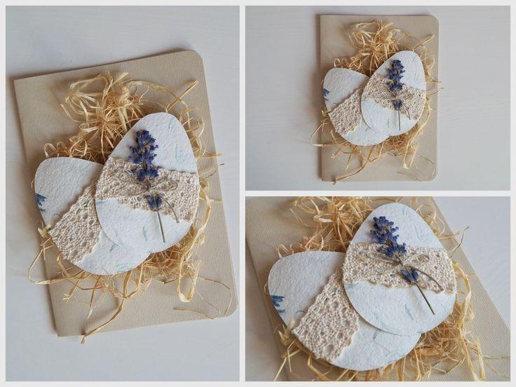 wielkanocna kartka z suszoną lawendą / easter card with dried lavender