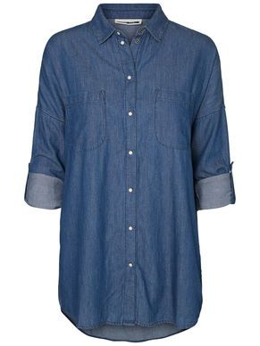 Oversized long blue shirt - style with blue jeans