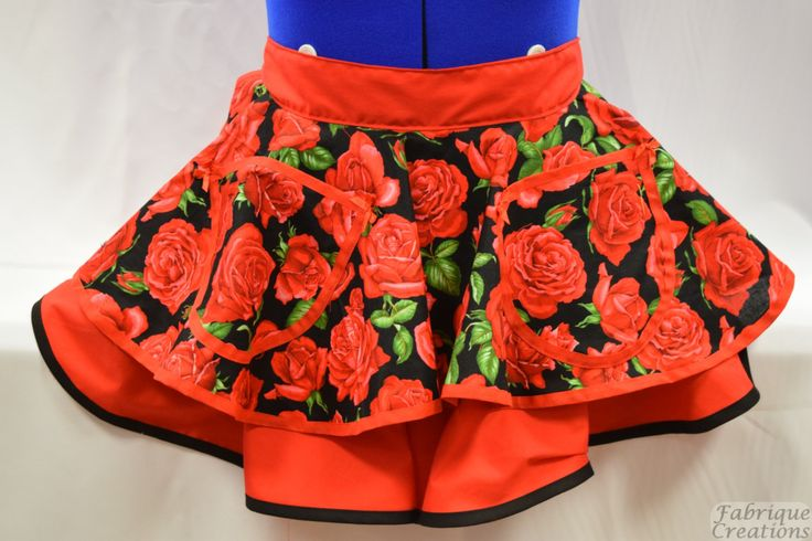Retro Vintage Style Half Apron – Nutex Red Roses On Black With Red – 2 Layer