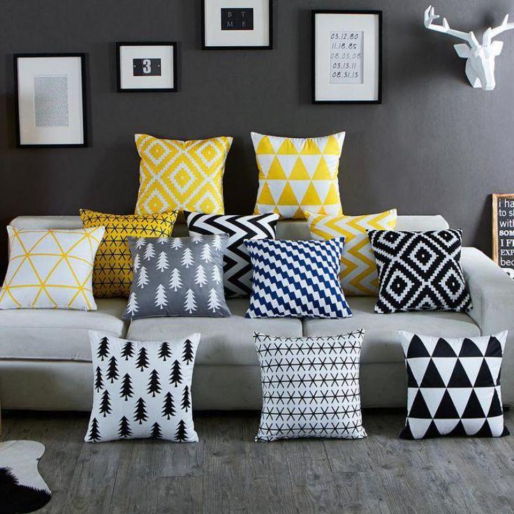 Wallmart.win Nordic Simply Geometric Pillow Home Decor Black And White Striped Diamond Pattern Office Chair gel Cushion Almofadas Para Sofa…