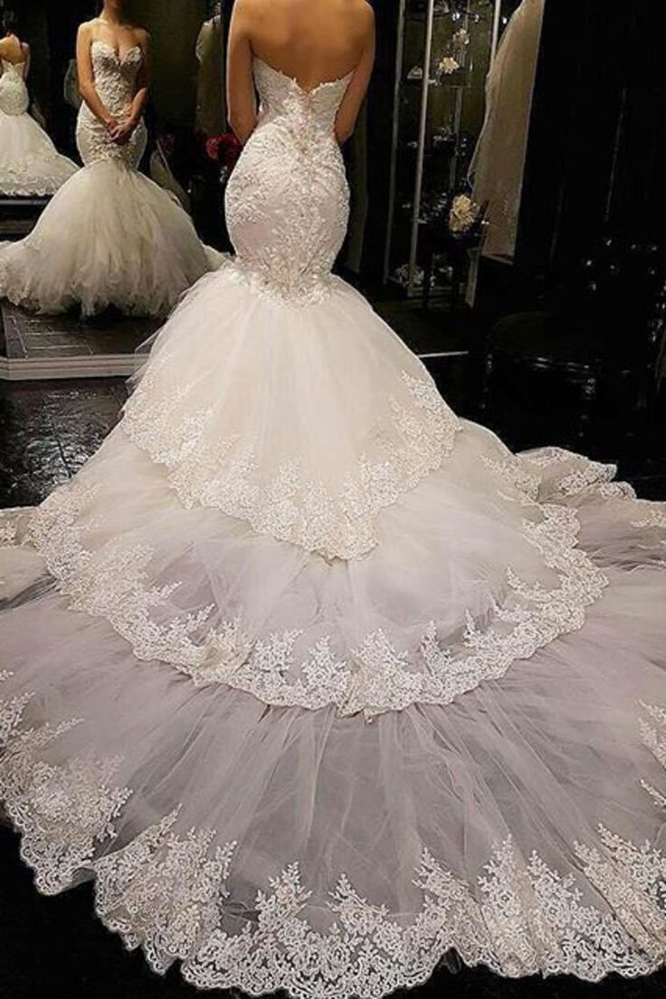 2018 Mermaid / Trumpet Sweetheart Tulle Wedding Dresses With Appliques US $ 369.99 ...