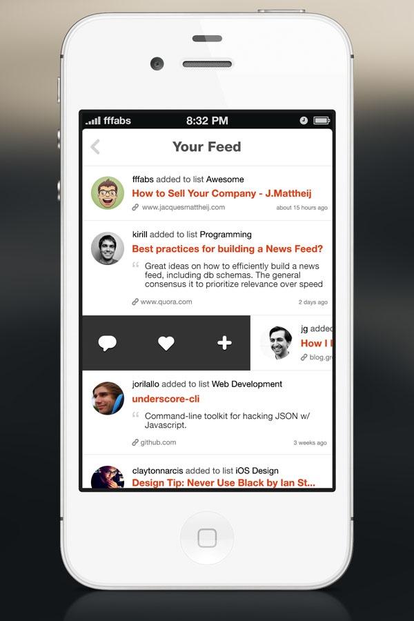 kippt ui mobile application design to show feeds.