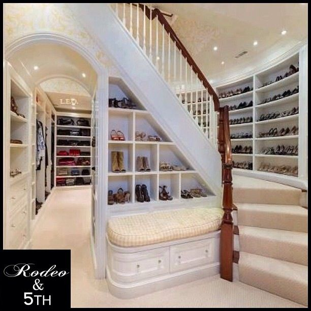 Huge walk-in closet. Even has stairs to the next level!