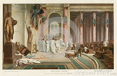 Image is taken from an original 1890 Antique Print  On 15 March 44 BCE, the Roman dictator Julius Caesar was murdered.  Led by Gaius Cassius Longinus and Marcus Junius Brutus, they stabbed Julius Caesar to death in a location adjacent to the Theatre of Pompey