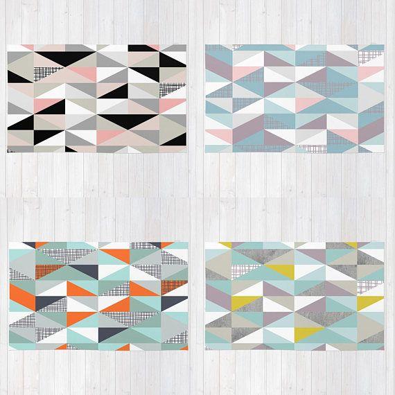 Nordic Color Block Triangles Rug Area Rug Black White Baby Scandinavian Rug Triangle Rug Carpet Runner