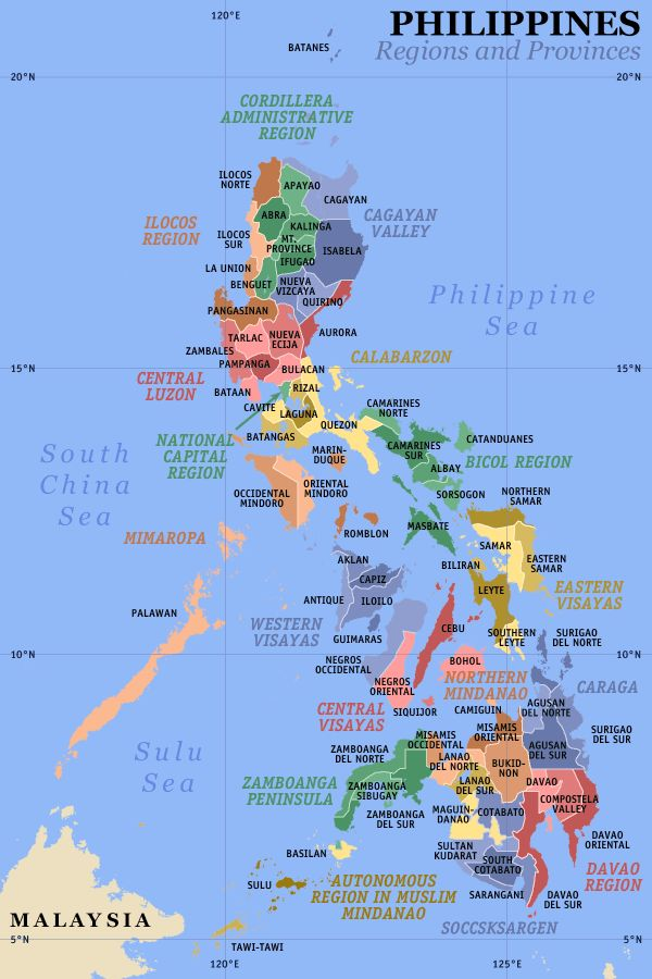 A clickable map of the Philippines exhibiting its 17 regions and 80 provinces.