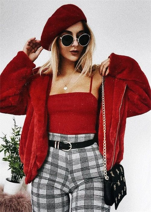 how to style a beret | how to style cami | how to style plaid pants | valentines day outfit | valentines day ootd