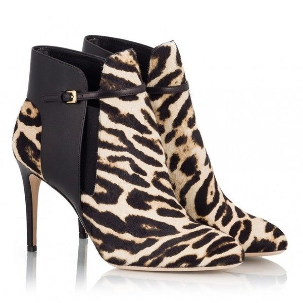 Fratelli Karida - Leopard-print hair leather paneled stiletto ankle... ($440) ❤ liked on Polyvore featuring shoes, boots, ankle booties, animals, black leather bootie, leather ankle boots, black ankle booties, leopard booties and black booties