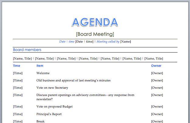 Board Meeting Agenda   Meeting Agenda & Templates