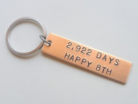 "Bronze Tag Keychain Stamped with ""2,922 Days, Happy 8th""; Hand Stamped 8 Year Anniversary Couples Keychain"