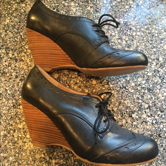 "New Chelsea Crew Oxford Wedges Brand New, Never Worn. These chic oxford wedges are a beautiful black and have a stacked wedge and slightly cushioned foot bed. 3.5"" wedge Synthetic upper Leather lining, rubber sole, slightly padded footbed. Chelsea Crew Shoes Wedges"