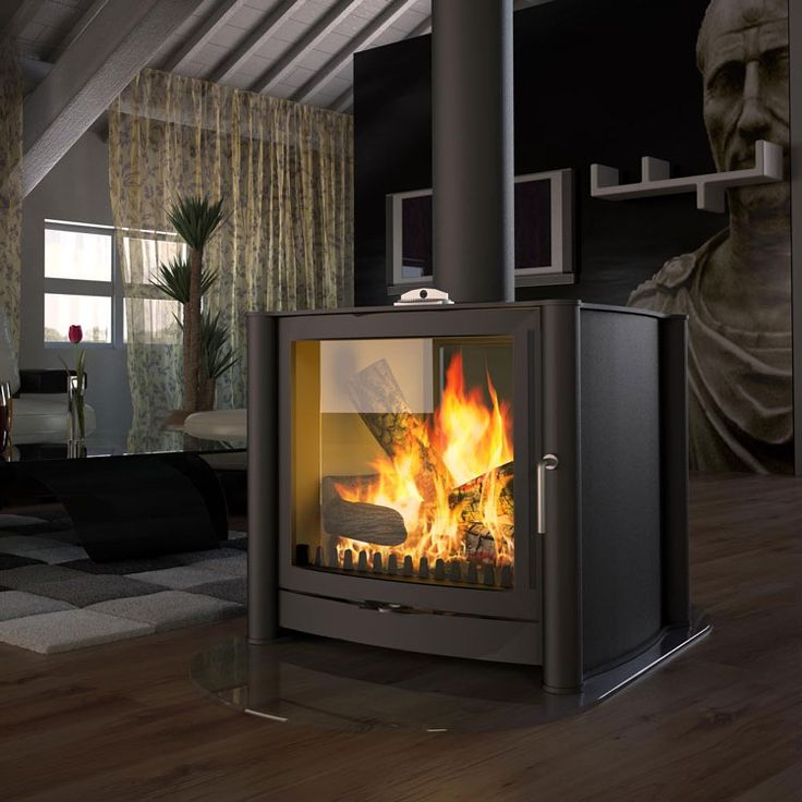 Firebelly FB3 Double Sided Wood Burning Stove - great idea for sharing one fireplace between 2 rooms? make good use of the chimney!