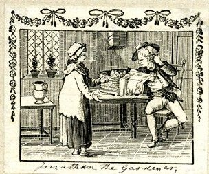 Bella standing to right, addressing her drunk husband, Jonathan, seated on a chair, removing an apron from a basket, in which lies asleep his baby son; knife lying nearby; garland with ribbons above image, hanging down the sides; illustration to 'The Hist