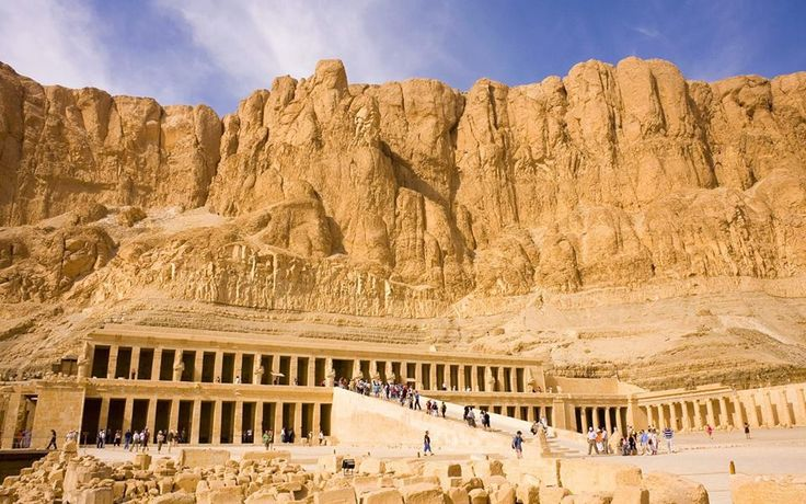 #places to visit: The Temple of Hatshepsut, Egypt. It is one of the most characteristic temples in the whole of Egypt, due to its design and decorations. It was built of limestone, not sandstone like most of the other funerary temples of the New Kingdom period.